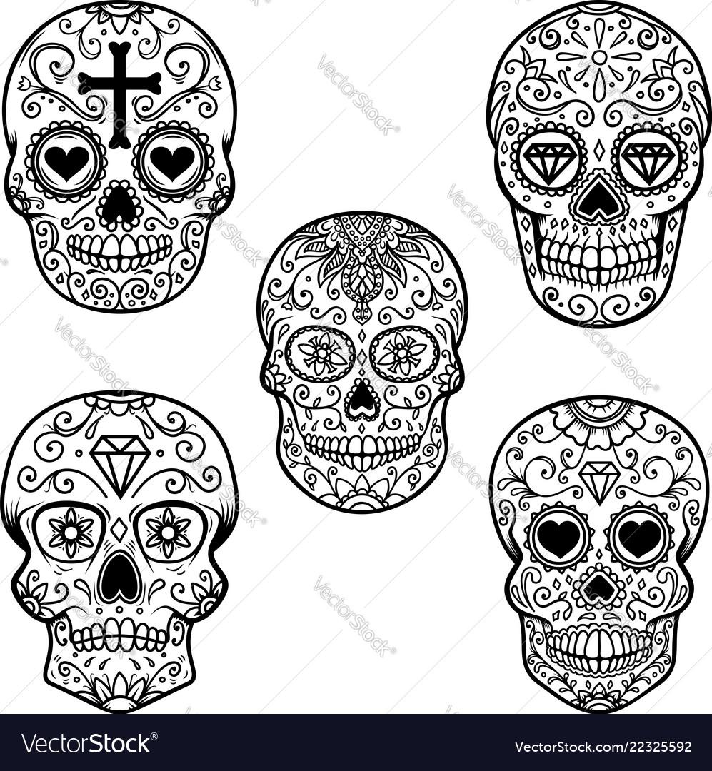 Set of sugar skull isolated on white background
