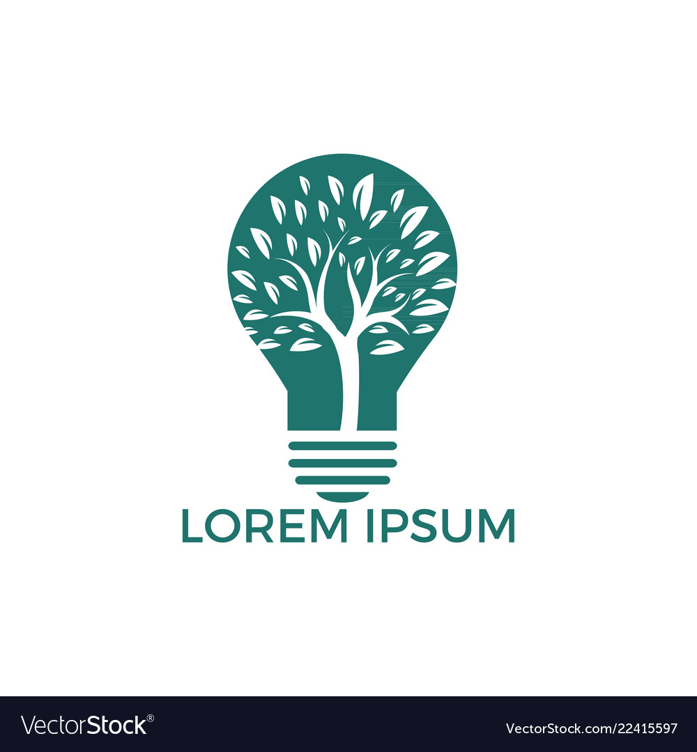 Abstract bulb lamp with tree logo design