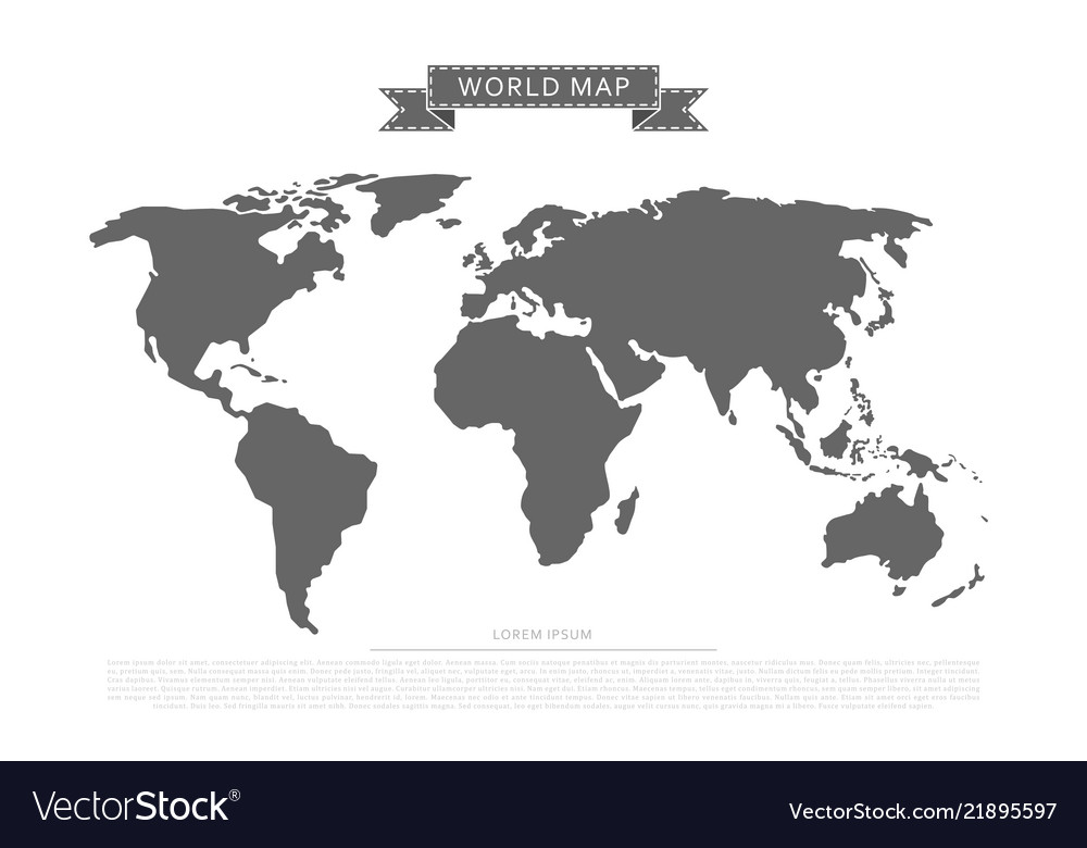 Flat world map Royalty Free Vector Image   VectorStock