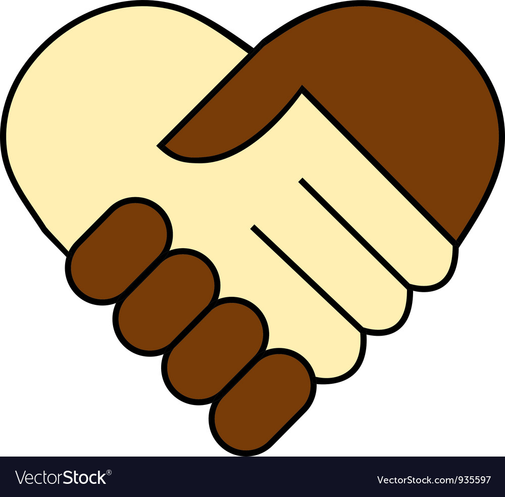 hand shake between black and white man royalty free vector