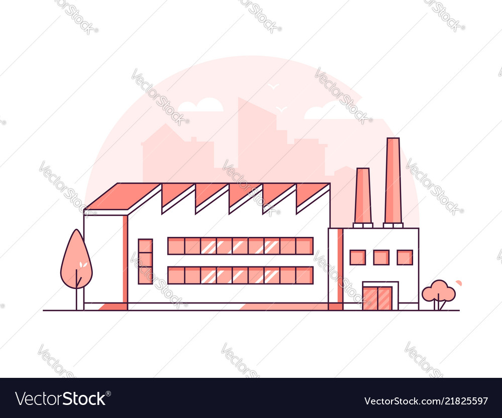 Industrial building - modern thin line design