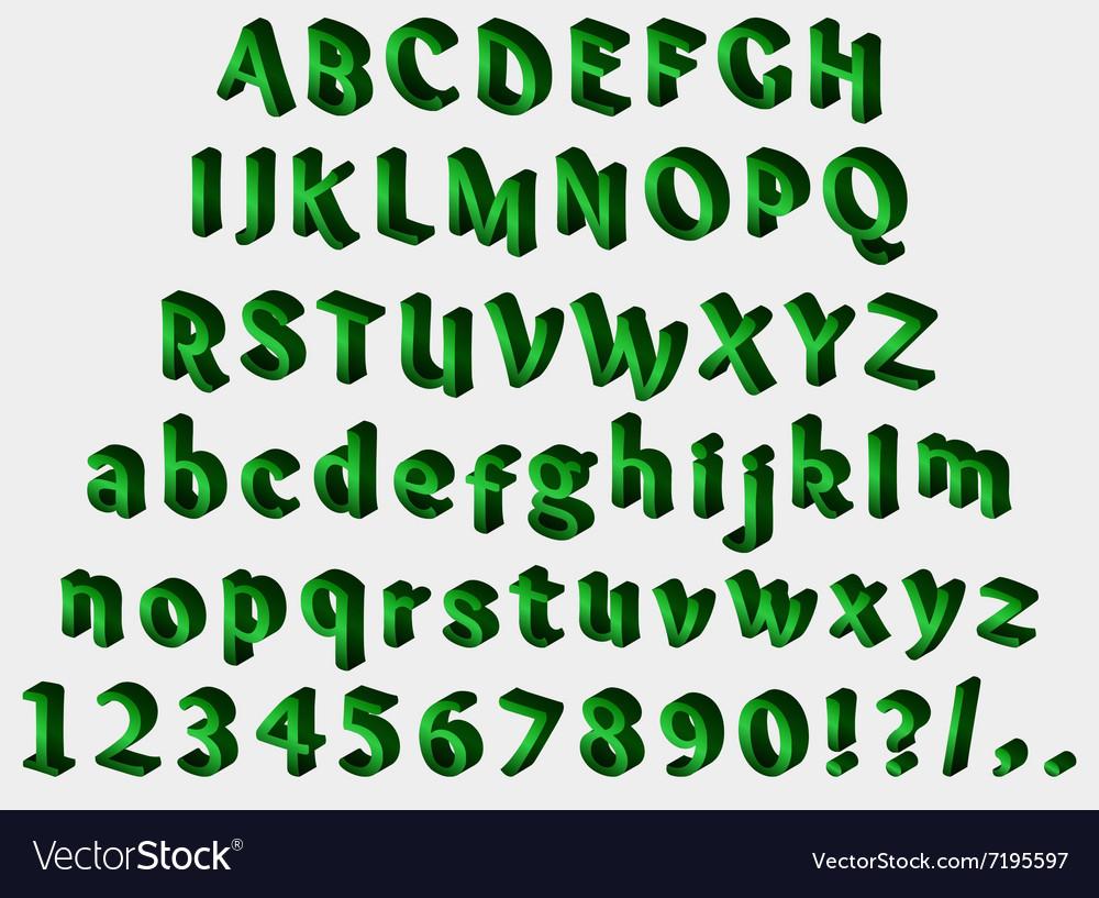 Isometric green font