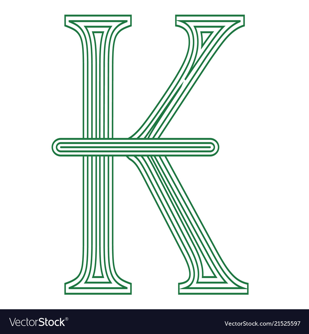 Kip Laos Currency Symbol Icon Striped Royalty Free Vector