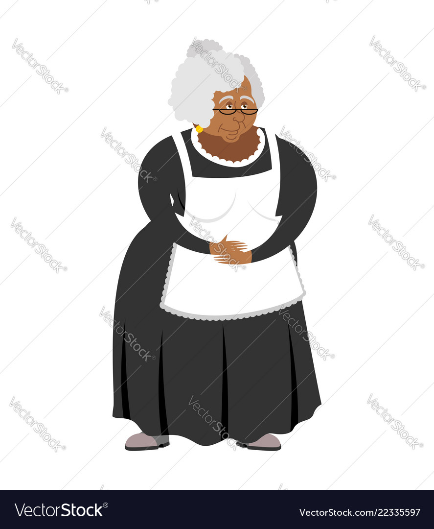 Old african-american governess isolated pedagogue