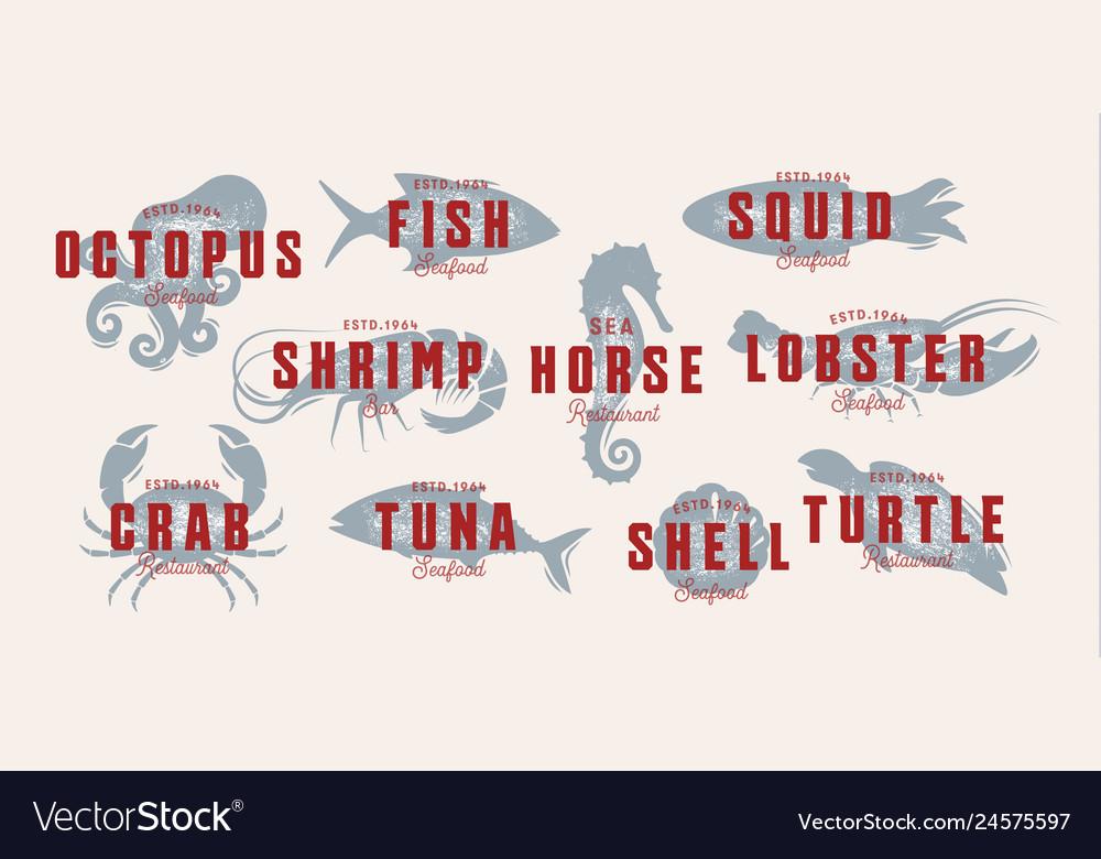 Seafood vintage logo set sea creatures fishing