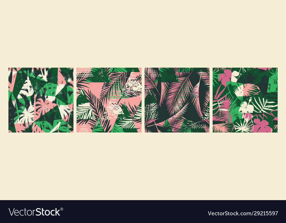 Seamless exotic patterns with tropical plants and
