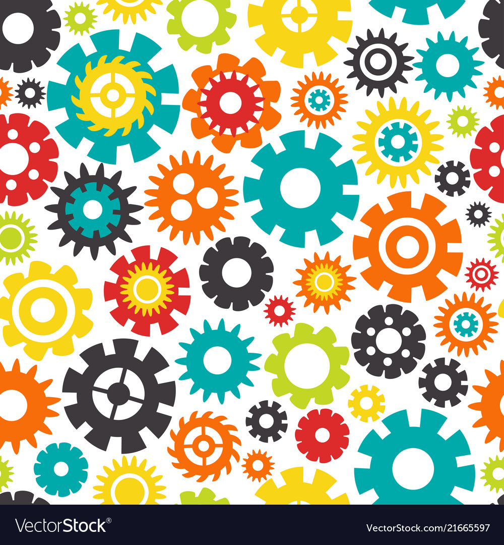 Seamless pattern with colorful gears