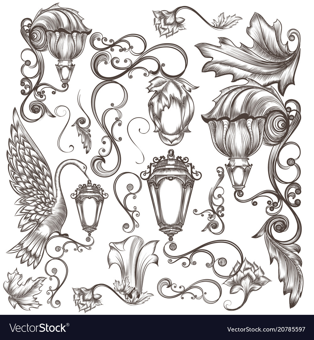 Set calligraphic elements for design