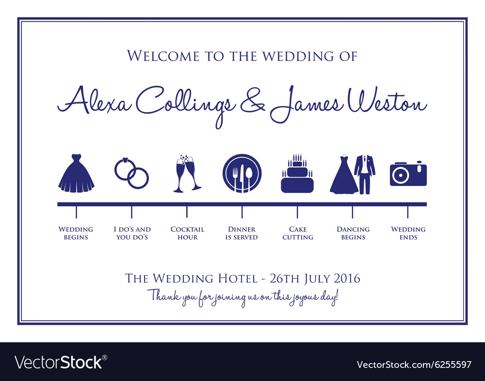 wedding timeline royalty free vector image vectorstock