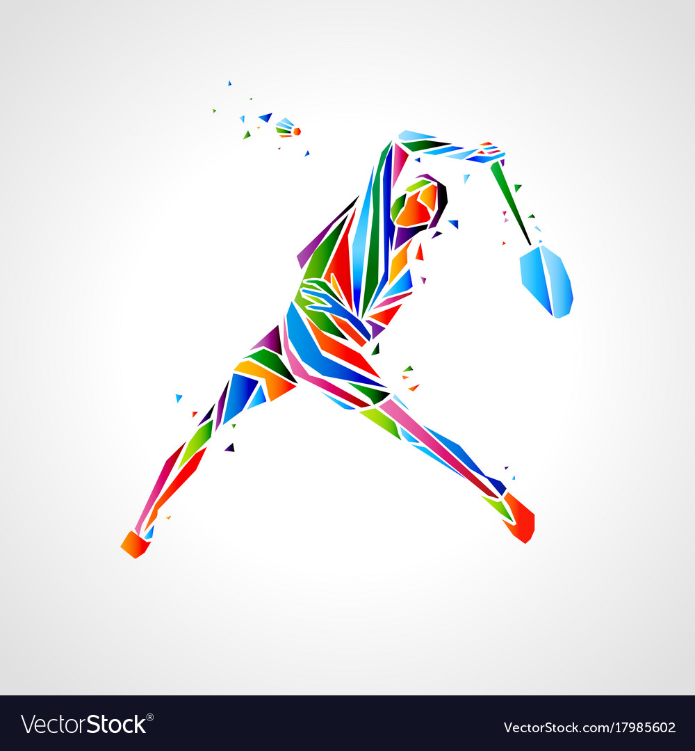 Badminton player abstract eps vector image