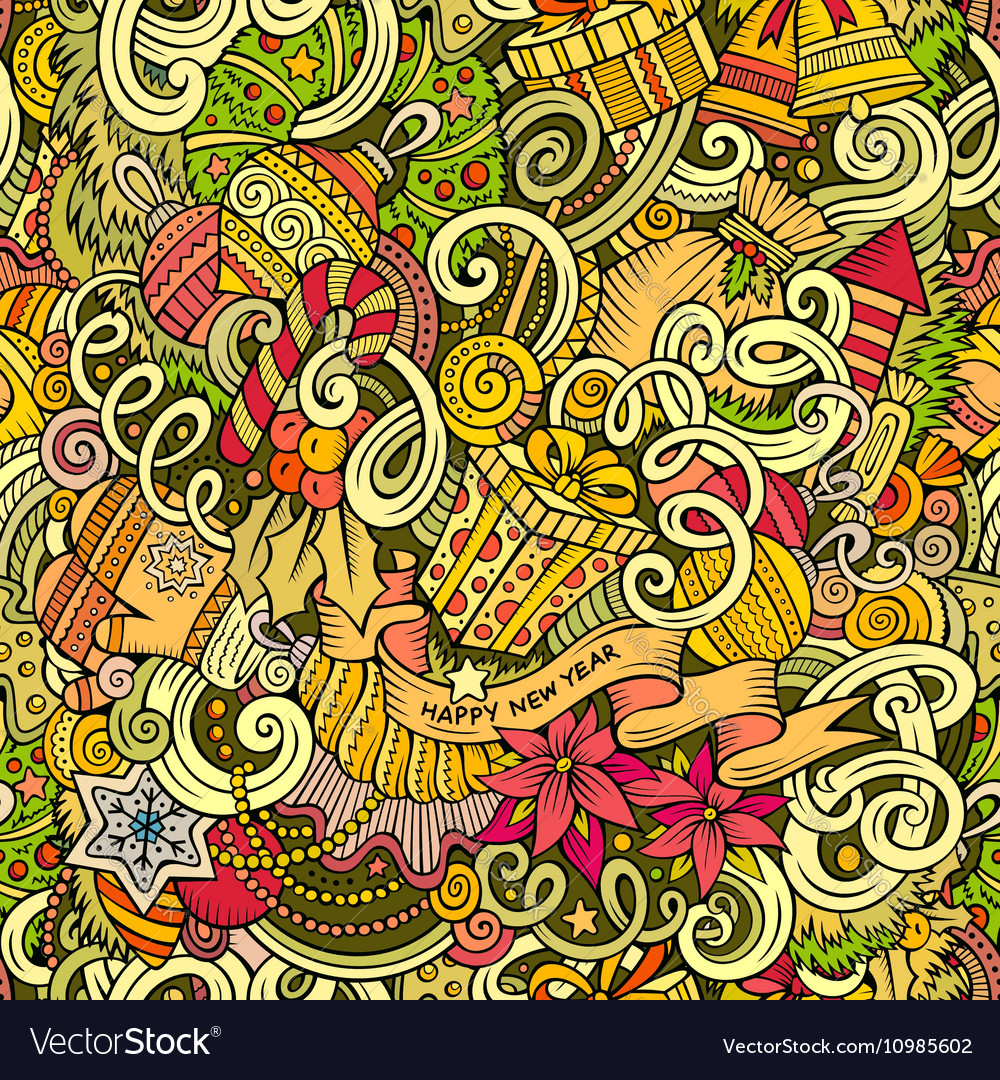 Cartoon cute doodles New Year seamless pattern