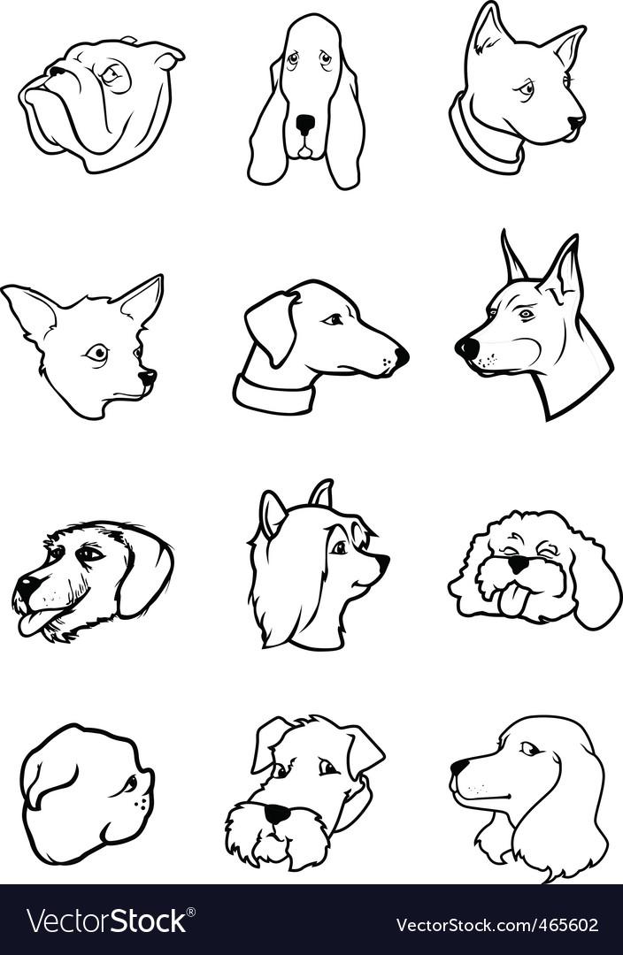 Cartoon dog faces - bw