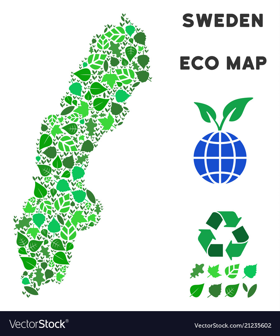 Ecology green collage sweden map
