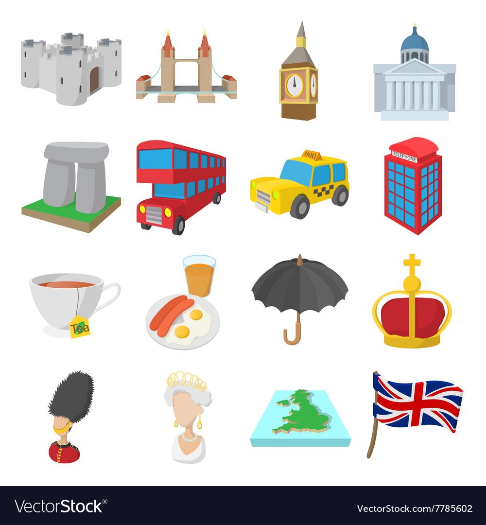 England icons set cartoon style