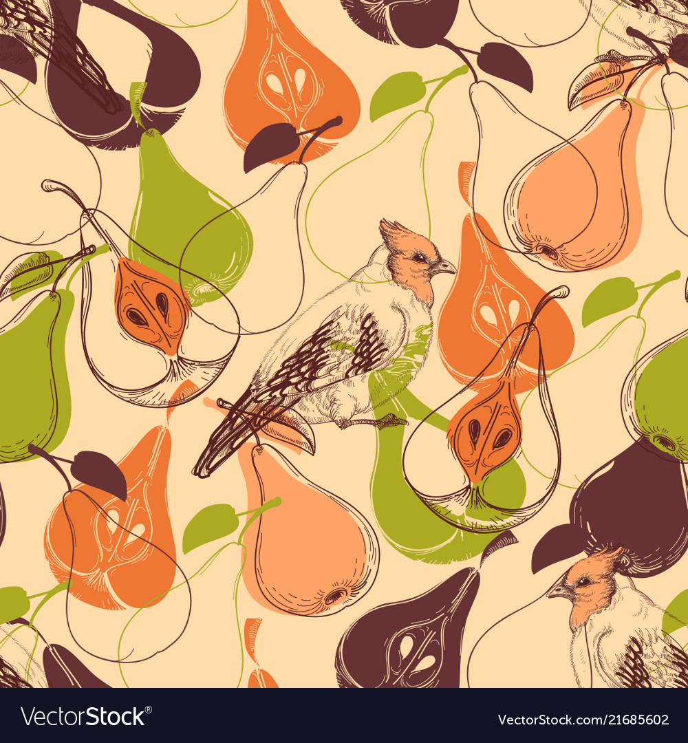 Fall seamless pattern fruits and birds