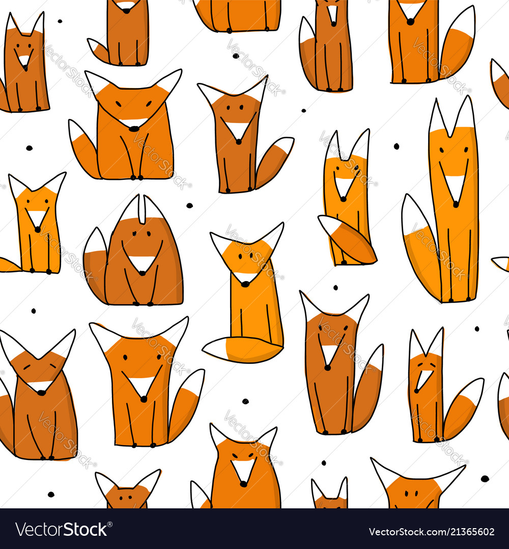 Funny foxes seamless pattern for your design