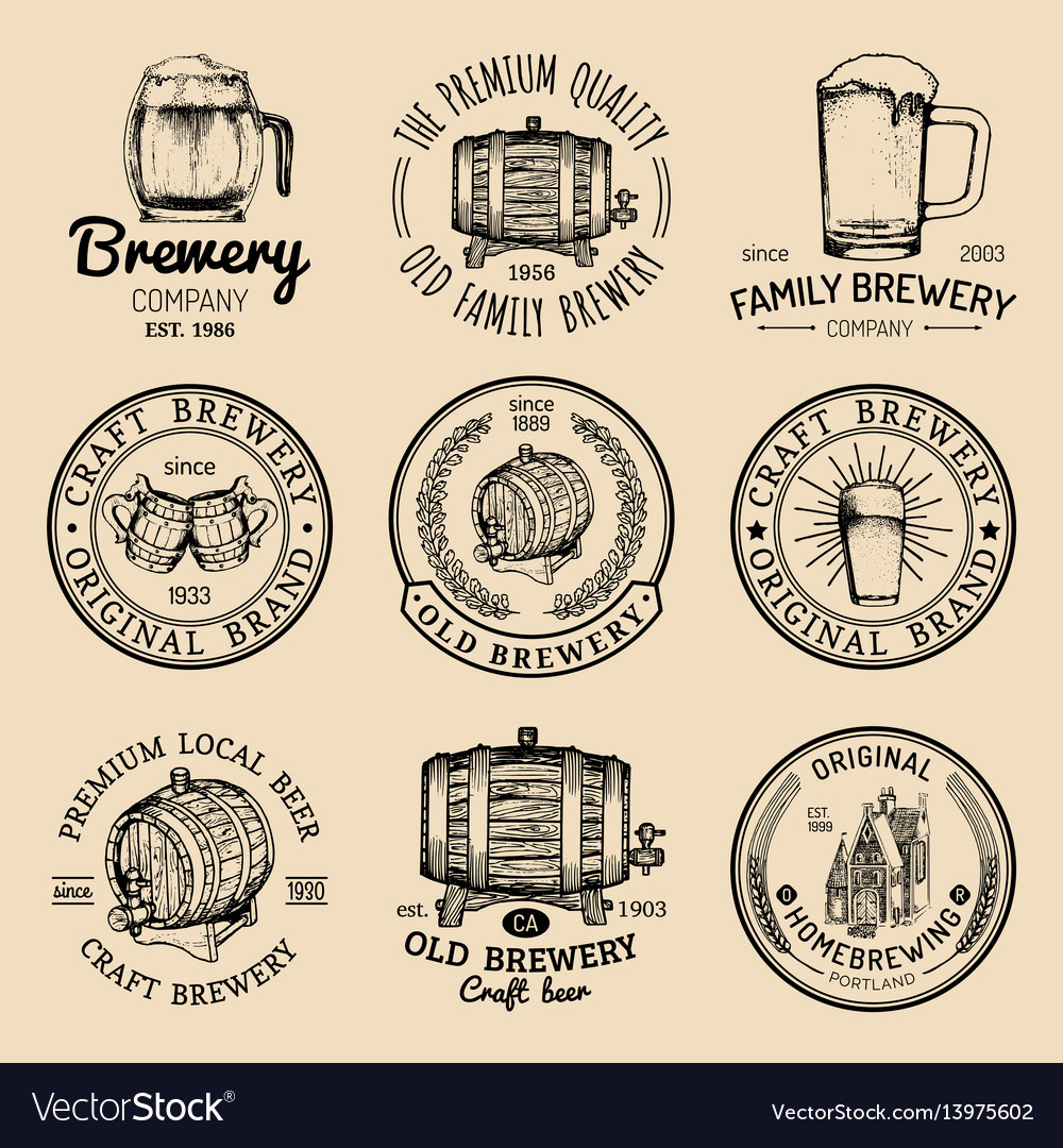 Old brewery logos set kraft beer retro signs or