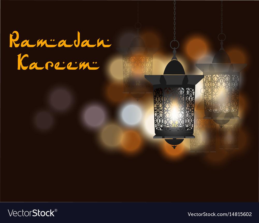 Ramadan kareem inscription three flashlights in