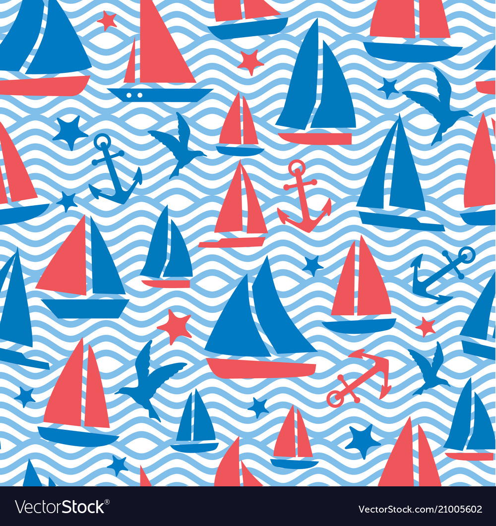 Seamless abstract sea background sailboats on a