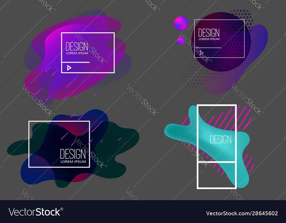 Set modern abstract liquid banners design