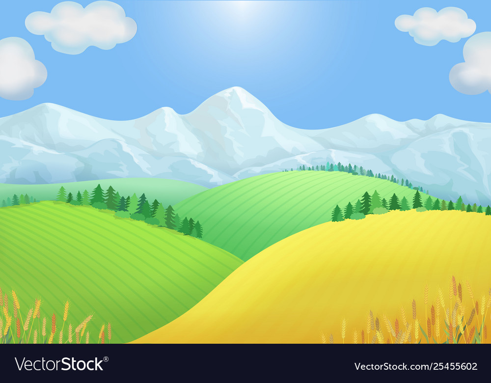 Summer landscape view green meadows mountains