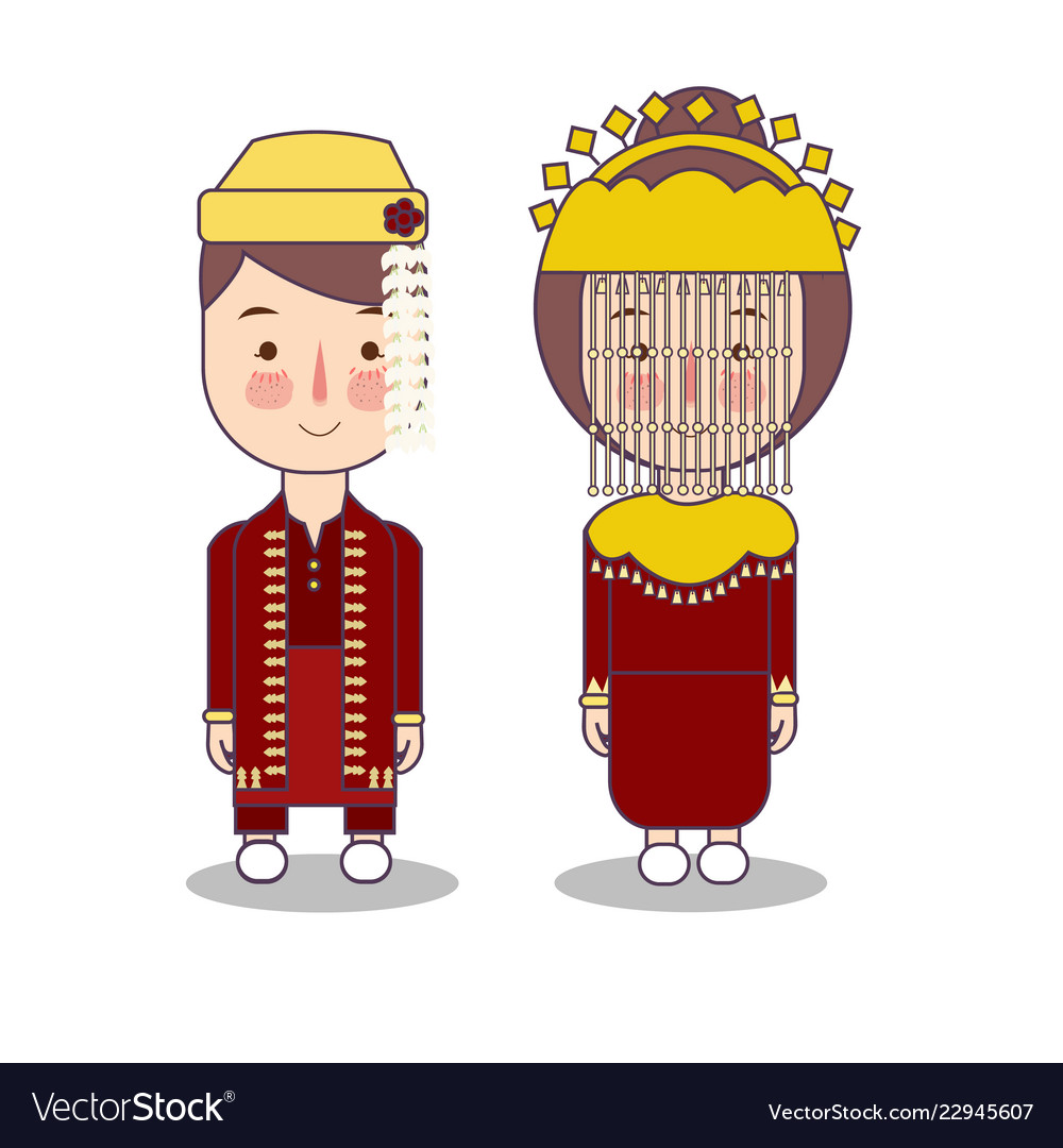 Betawi Jakarta Couple Traditional National Clothes