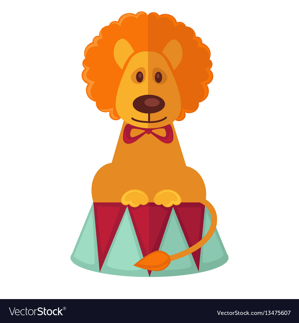 Circus trained lion isolated cartoon flat