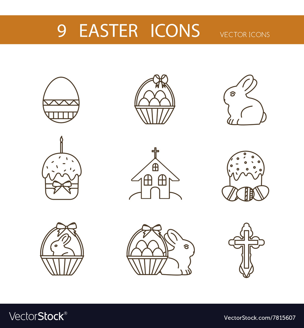 Collection of cute Easter icons vector image