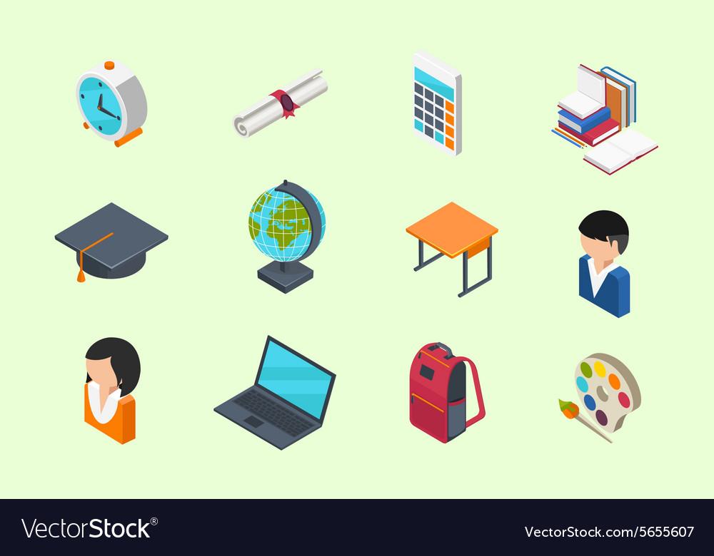 Education isometric icons