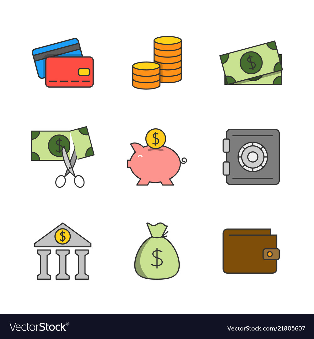 Finance flat line icons