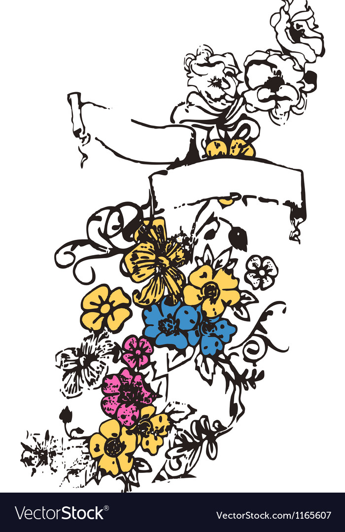 Floral emblem with decorative ribbon