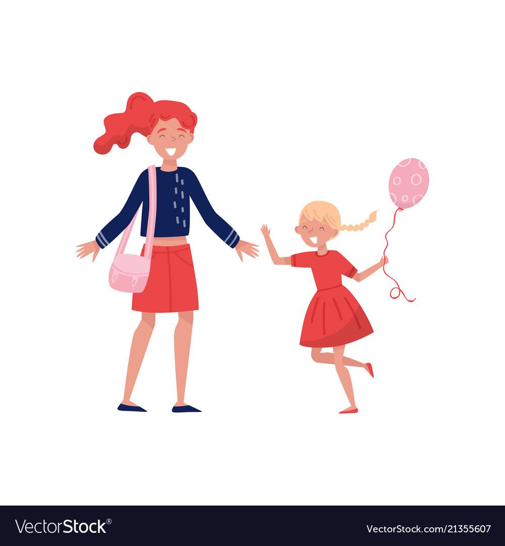 Little girl with balloon in hand running towards