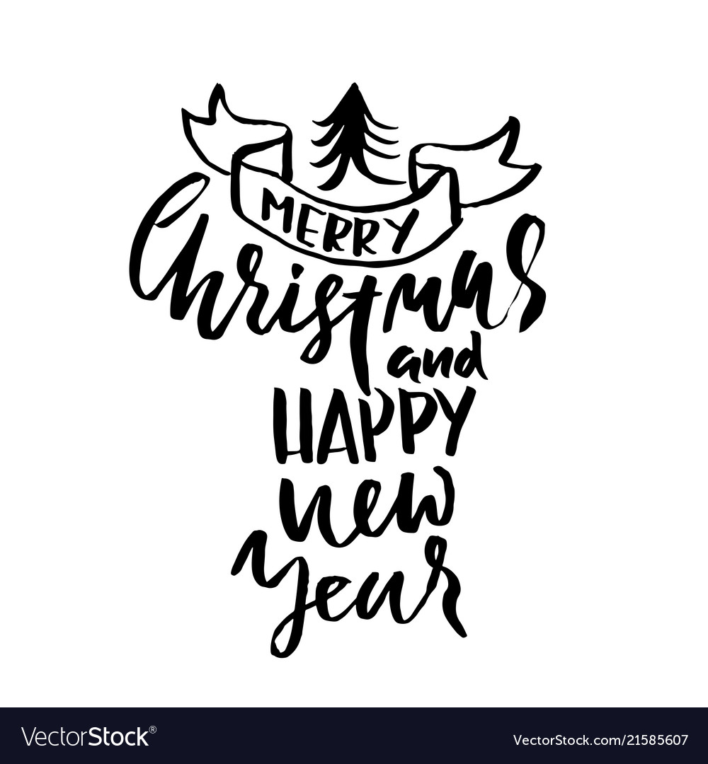 merry christmas and happy new year holiday modern vector image