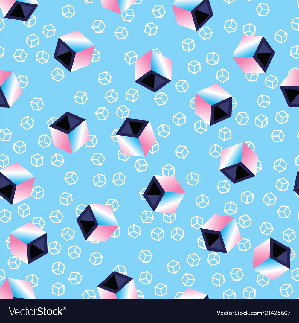Multicolored 3d cubes on blue pattern background