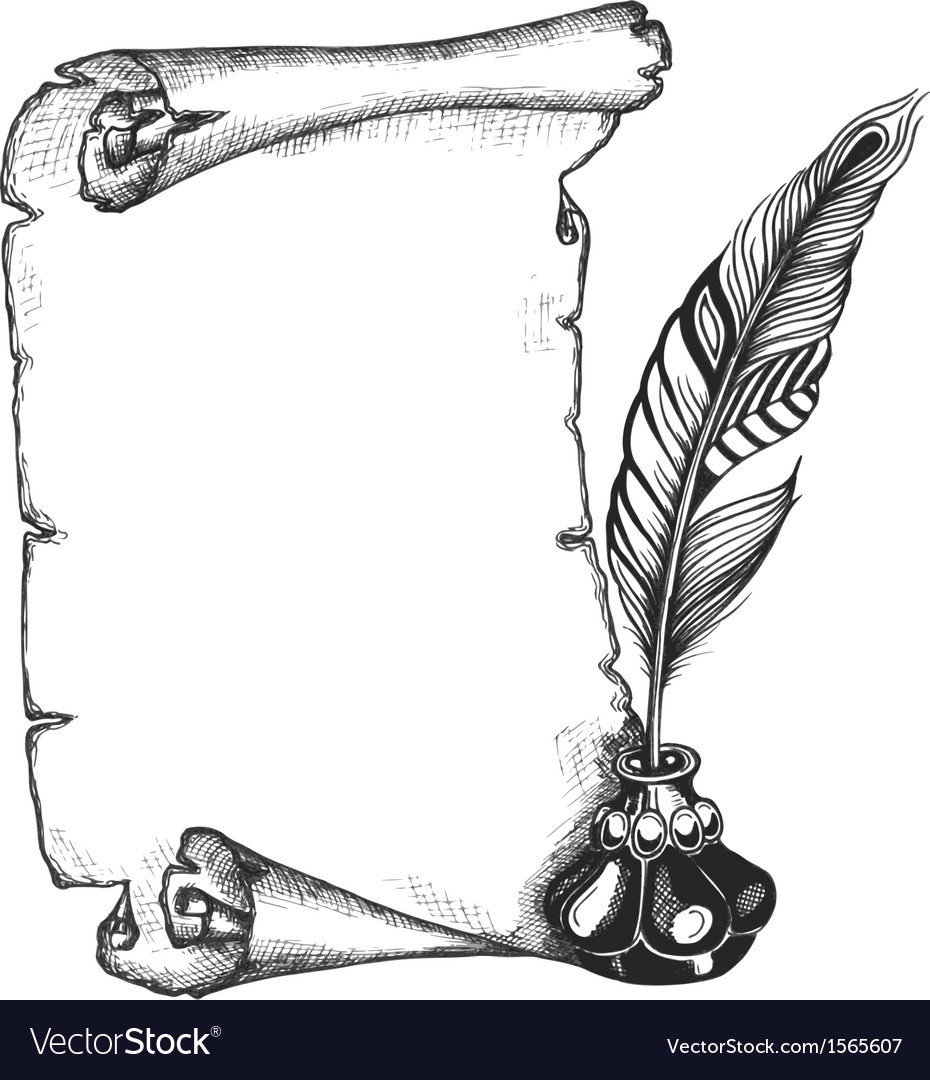 Paper scroll feather and inkwell