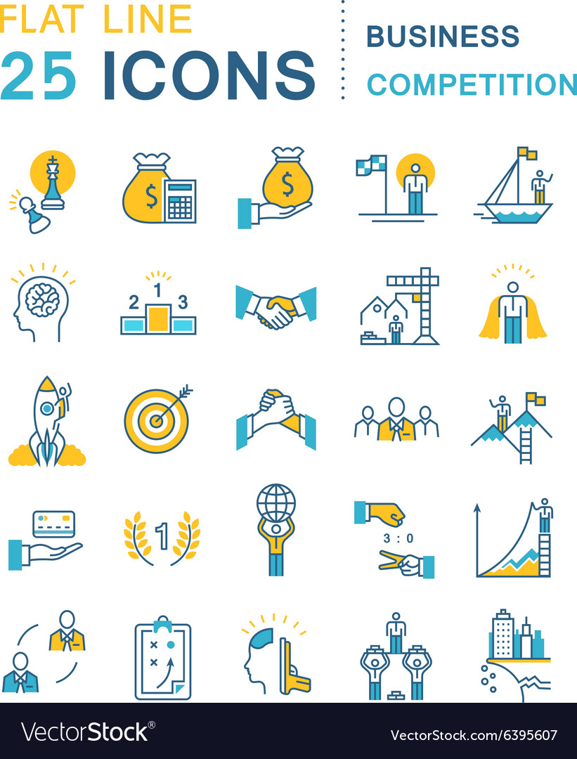 Set Flat Line Icons Business Competition