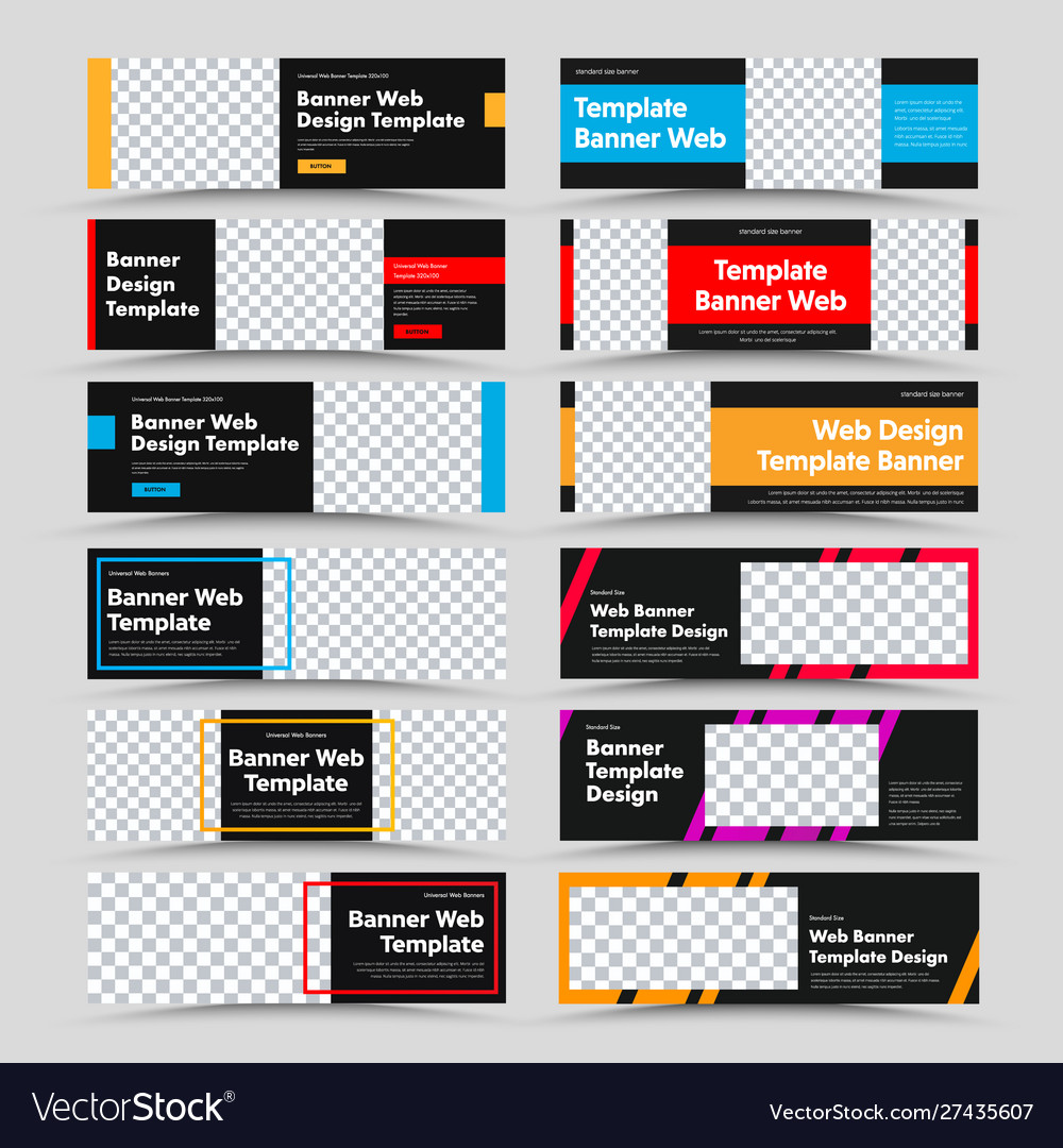 Set horizontal black web banners with place
