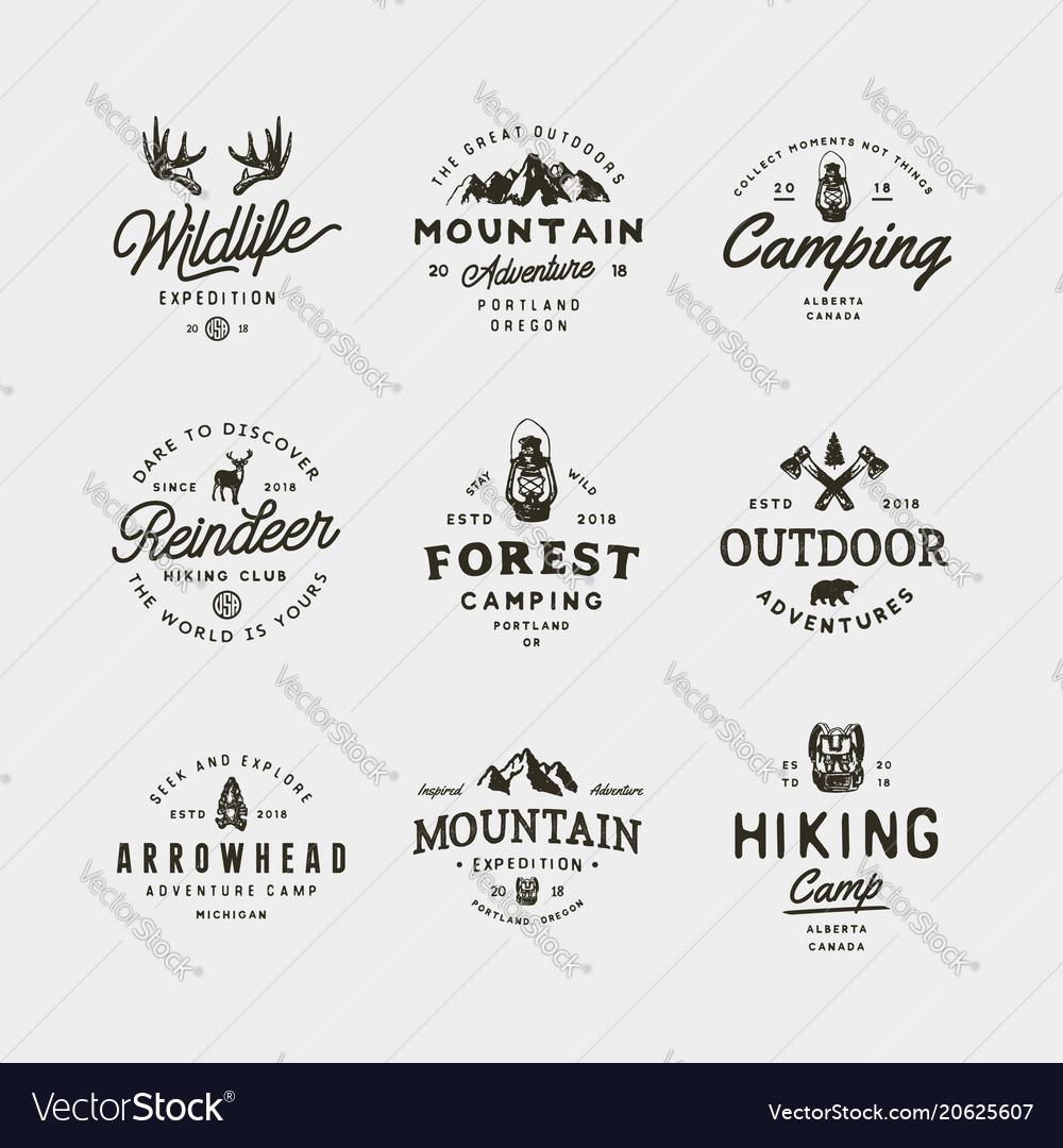 Set of vintage wilderness logos hand drawn retro