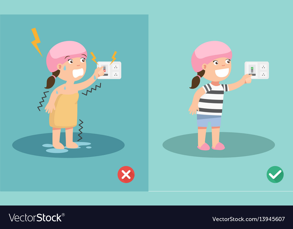 Wrong and right for safety electric shock risk vector image