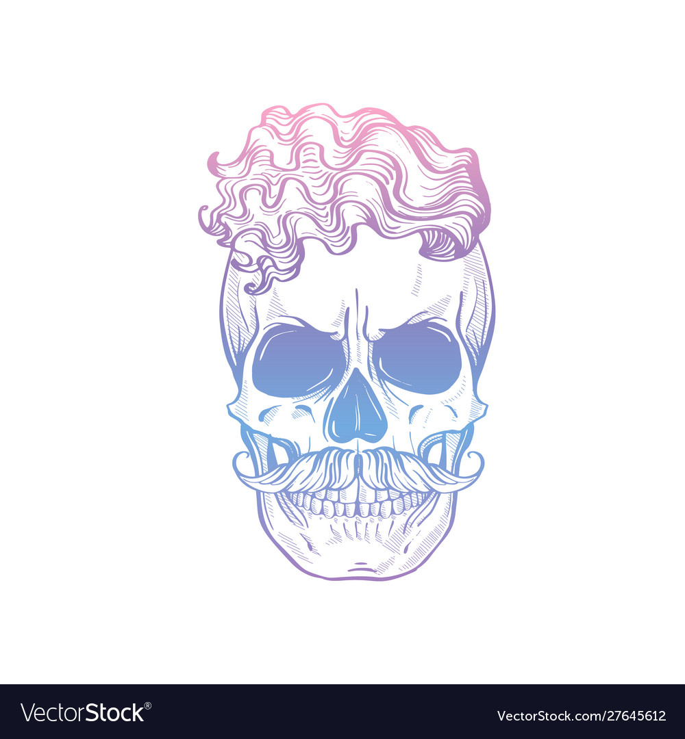 Angry skull with cirly hairstyle