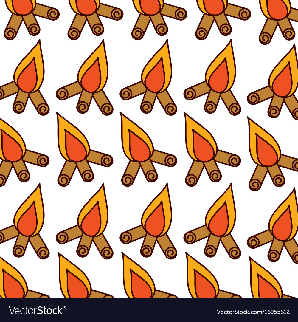 Camp fire pattern background vector image