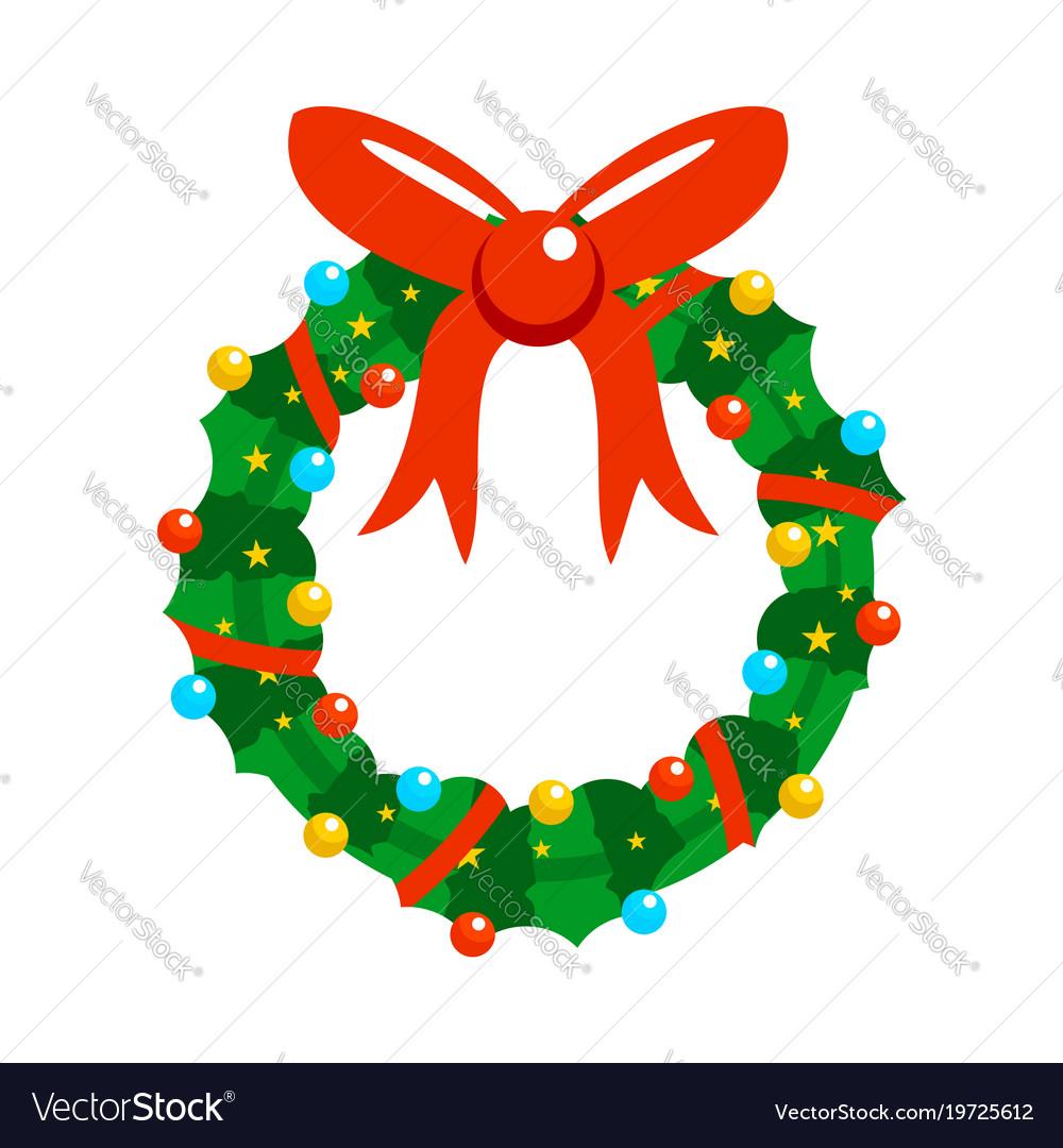 Cartoon Christmas Fully Decorated Garland Vector Image