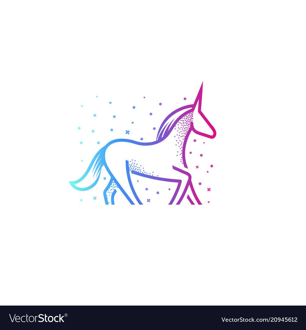 Cartoon unicorn linear silhouette icon colorful