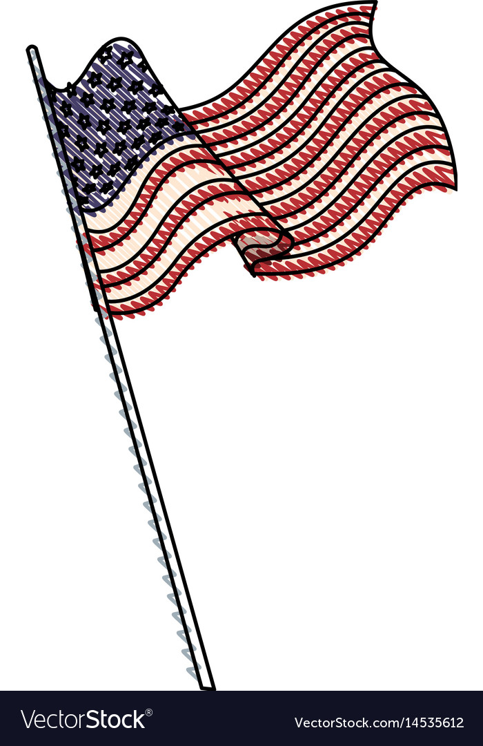 Drawing united states of america flag with pole