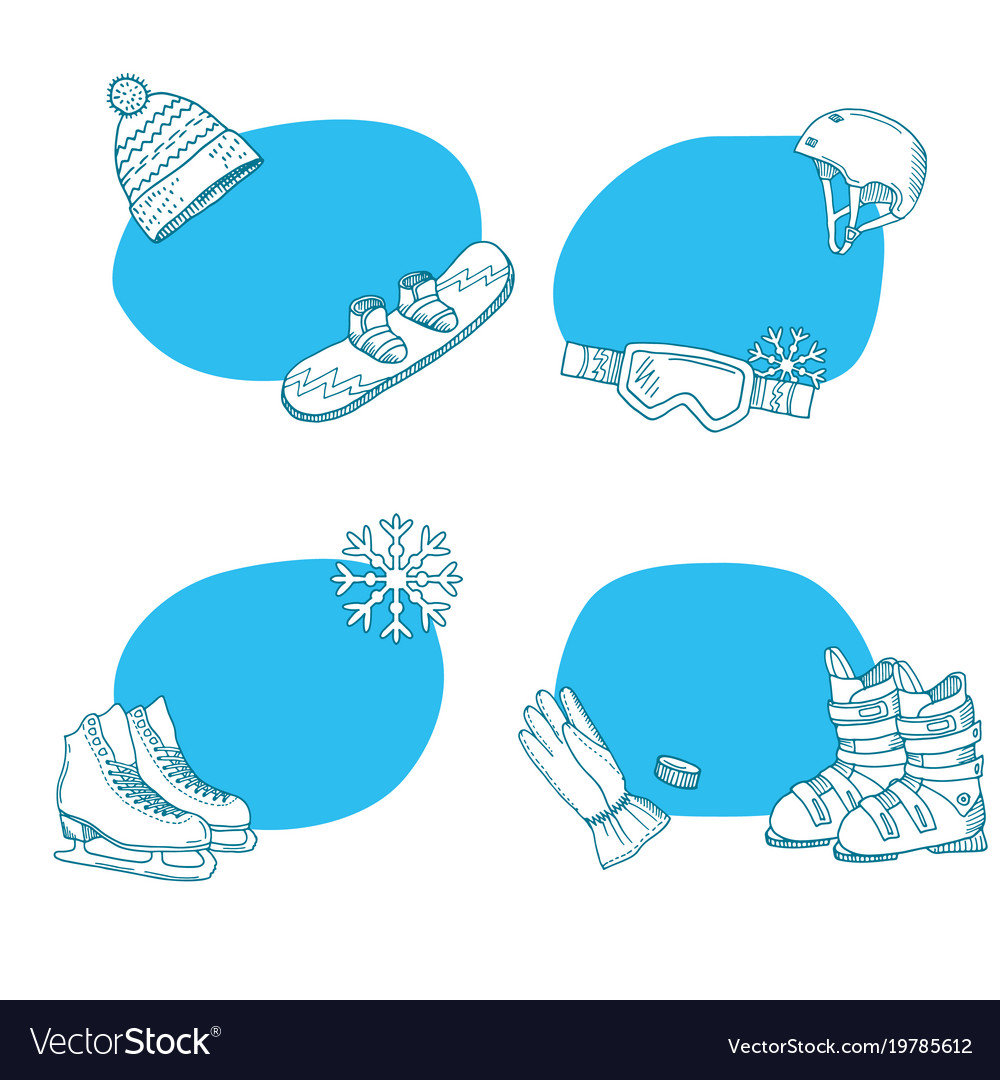 Hand drawn winter sports equipment stickers