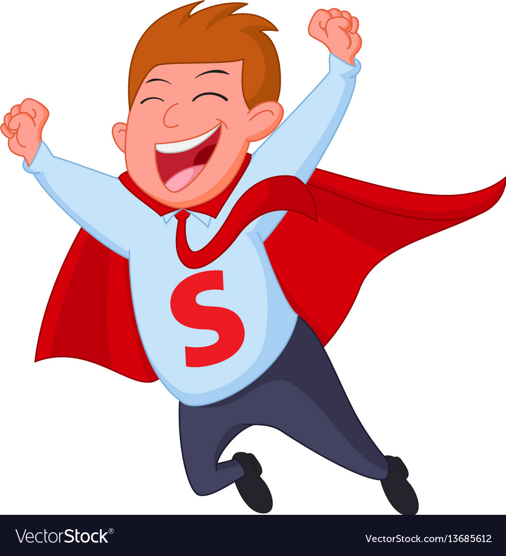 Happy superhero businessman fly