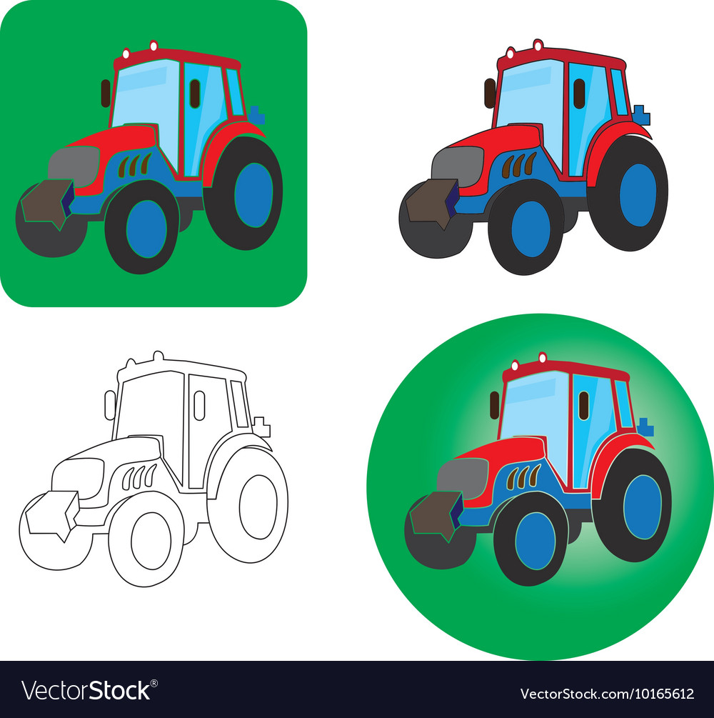 Icons of tractors on a white background