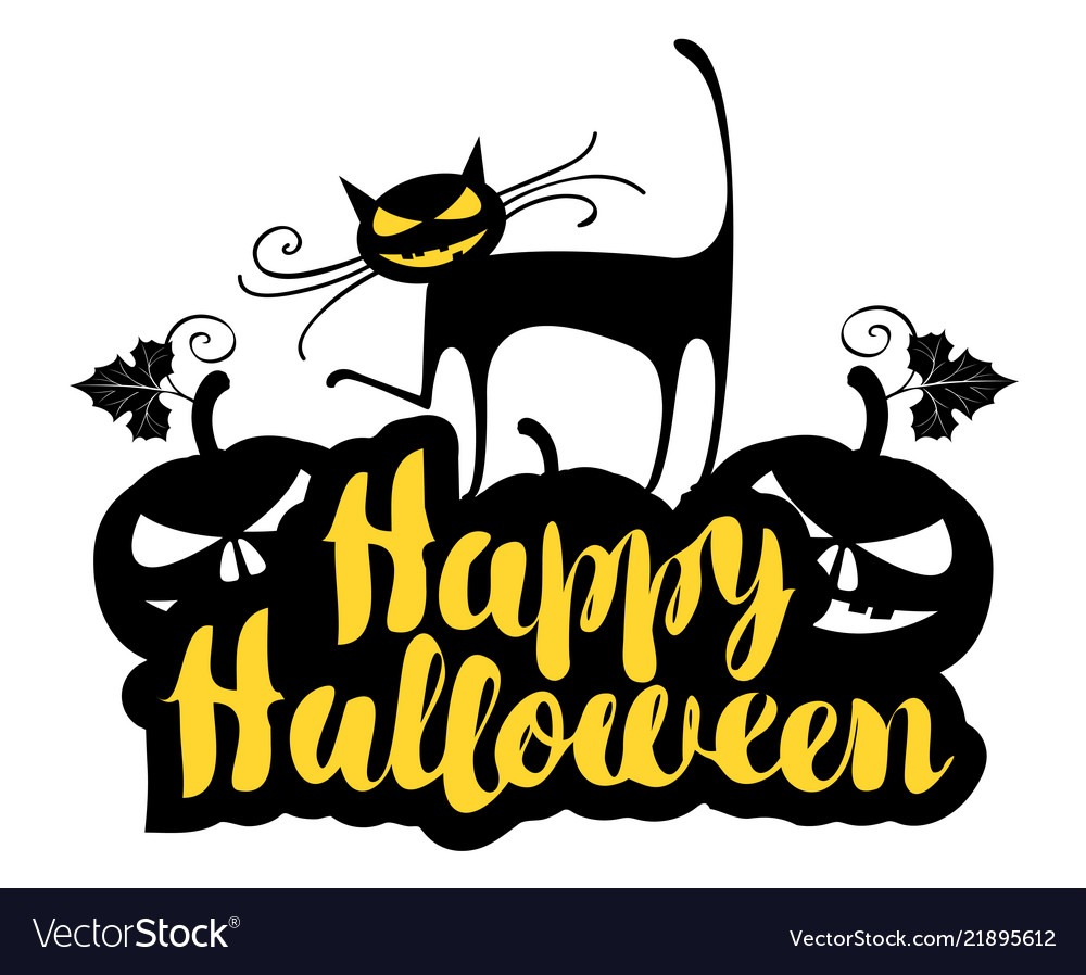 Lettering happy halloween with a cat and pumpkins