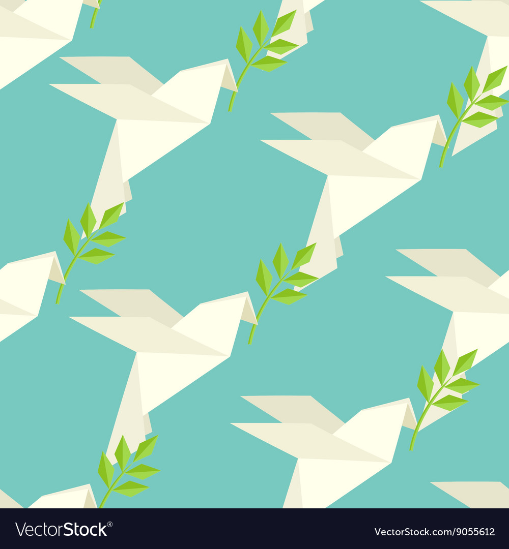 Origami dove on pattern