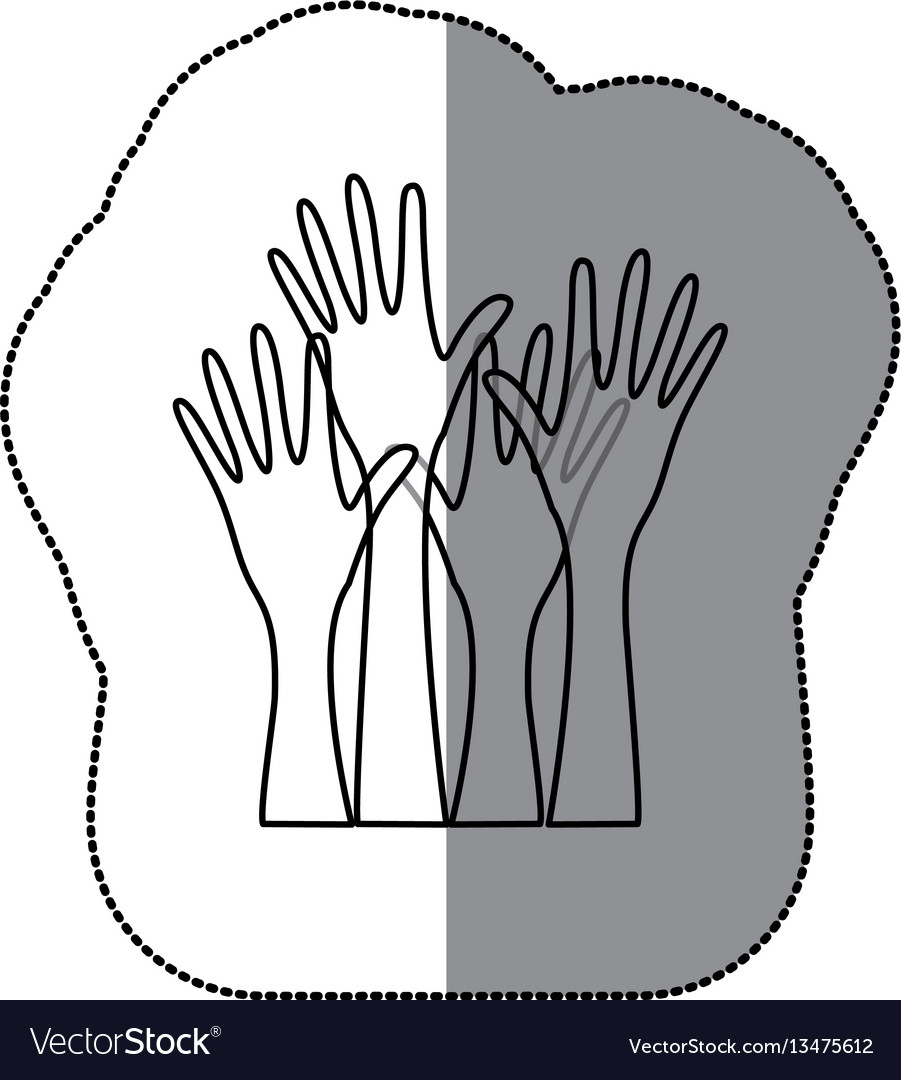 Sticker sketch silhouette set hands raised icon